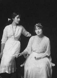 Lady Elizabeth Bowes-Lyon (later Queen Elizabeth, the Queen Mother), and Lady Rose Bowes-Lyon, circa 1920