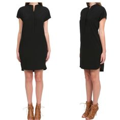 Vince Black Dress Vince Black Laser Cut Half Placket Dress. One inch shorter in the front, Size XS, could fit a small, it has pockets, EUC worn only a couple of times. Vince Dresses Mini