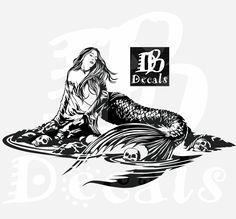 Mermaid Sexy Girl Siren Water Skull Tattoo Fantasy Fish Car Boat Truck Window Vinyl Decal Sticker by dbdecals on Etsy Car Decals, Bumper Stickers, Vinyl Decals, Custom Decals, Boy Tattoos, Trendy Tattoos, Unicorns And Mermaids, Mermaid Tattoos, Cat Tattoo