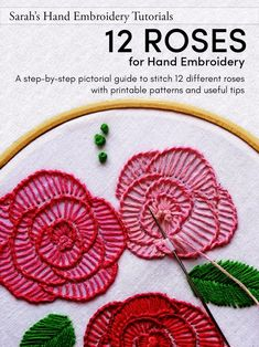 Hand Embroidery Patterns Free, Basic Embroidery Stitches, Hand Embroidery Flowers, Hand Embroidery Tutorial, Embroidery Sampler, Free Motion Embroidery, Embroidery Techniques, Embroidery Books, Embroidery Ideas