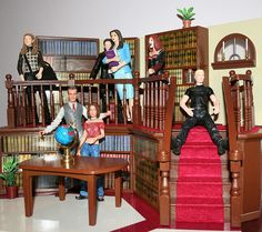 The actual playset sold in stores with some smaller action figures. Again, a dream.