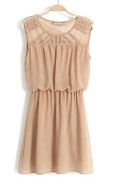 Brown Sleeveless Hollow Shoulder Bandeau Dress