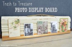 Trash to Treasure Photo Display. How to create a photo/card holder with old molding and a piece of copper weather stripping. From MySalvagedTreasures.com