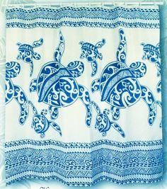 Hawaiian Fabric Shower Curtain (Honu Turtle family) by Kauhale Living, http://www.amazon.com/dp/B004CTOLE6/ref=cm_sw_r_pi_dp_MNPlsb1VPC1CV