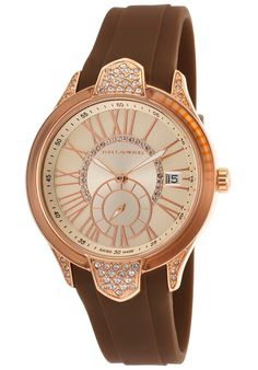Ted Lapidus Watches Women's Crystal Brown Silicone Champagne Dial A0541UMRMSM,    #TedLapidus,    #A0541UMRMSM,    #Fashion