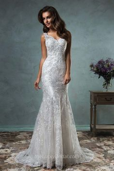 Mermaid V-neck Sleeveless Floor Length Backless Lace Wedding Dress