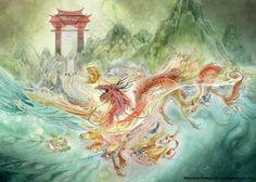 Japanese story of a koi fish becoming a dragon illustration by Stephanie Pui-Mun Law Japanese Buddhism, Dragons, Japanese Legends, Chinese Mythology, Japanese Koi, Dante Alighieri, Earth Design, Sci Fi Art, Fantasy Art