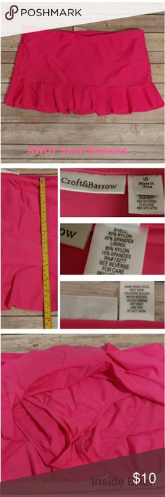 "NWOT. Swim bottoms / skort. Pink- sz 16 New without tags. Never worn. (Took the tags off when packing for a trip, but never ended up needing.)  Brand: Croft & Barrow Plus Size: 16 Waist: 19"" Length: 12""  Conservative skirt style swim bottoms with inside brief bottoms. Excellent when looking for a cover-up swim bottom. Mix and match with your favorite top or black tankini. Bright pink bottoms brings some color to your beach day!   Brand New. Excellent condition. croft & barrow Swim"