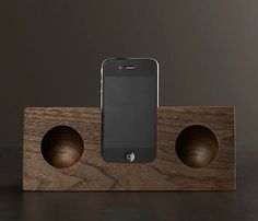 Walnut ipod amplifier in wood