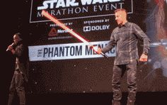 Ray Park (Darth Maul) showing some lightsaber skills