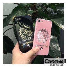 クロムハーツ iPhone7ケース 鏡面 iPhone7 plusカバー ブランド ハード ブラック&ピンク ペアケース