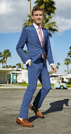 Bar III suit — Get your office wardrobe in Spring mode with vibrant blue suits and eye-catching pops of color, like polka-dot pink neckties