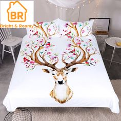 White embroidery Cute Bedding Set cotton Bed Sheet set Twin Queen King size Girls Duvet Cover Bed cover set Jogo de Cama Application Size: feet) Weight: Quantity: 6 pcs Model Number: Type: Sheet, Pillowcase & Duvet Cover Sets Style: Ca Queen Bedding Sets, Duvet Sets, Bed Sets, Duvet Cover Sets, Deer Bedding, Cotton Bedding, Linen Bedding, Bed Linens, Reno Animal