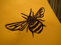 my very own bee lino cut