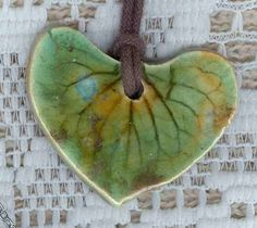 Stoneware leaf pendant and anyone that knows me knows I love leaves.