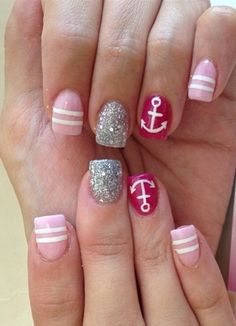 Baby pink, silver, and nautical red acrylic nails