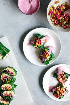 "Mini Rainbow Chard Wraps with ""Cheesy"" Cashew Chickpea Spread & Pink Tahini Sauce"