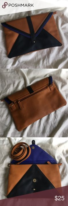 Color Block clutch/ crossbody Super cute classic style clutch- hardly used, just 1 nick as pictured. Has so much life left! 1 outer zip compartment on back, 1 inner zip and 2 slip pockets. Perfect for brunch! Nila Anthony Bags Crossbody Bags