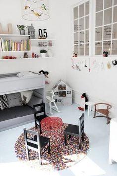 Muted palette kids bedroom using ikea hack furniture - modern motif with black and white - desiretoinspire #kidsrooms #kidsbedroom
