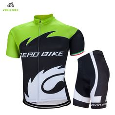 ZERO BIKE Summer Green Short Sleeve Mountain Bicycle Jersey and Shorts Men's Cycling clothing Sets Quick dry Ropa Ciclismo