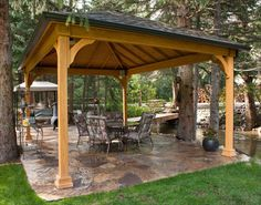 Build a gazebo in the backyard that you can use to decorate the yard. The gazebo is a perfect shelter next to it for those of you who want to do outdoor activities or relax with family or friends. Backyard Pavilion, Outdoor Pavilion, Outdoor Gazebos, Outdoor Rooms, Outdoor Living, Backyard Gazebo, Garden Gazebo, Backyard Landscaping, Backyard Shade