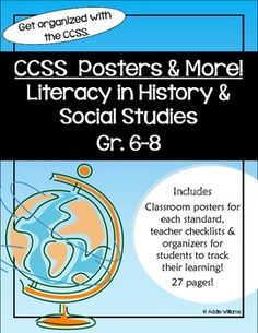 CCSS for Literacy in History & Social Studies Gr. 6-8 - Posters and Organizers for both teachers and students! ($) 7th Grade Social Studies, Social Studies Classroom, Social Studies Activities, History Classroom, Teaching Social Studies, History Teachers, Teaching History, Nursing School Prerequisites, Middle School History