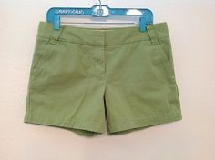 J.Crew Cotton Twill Shorts in Apple Green, Size 10