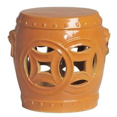 Double Fortune garden stool with traditional Chinese design. Use as a decorative accent indoors or outdoors. Perfect as a side table or outdoor patio accessory. Can be used as a seat or even a base for a table top. Ceramic Stool, Ceramic Garden Stools, Asian Home Decor, Luxury Home Decor, Lattice Garden, Faux Fur Stool, Asian Garden, Patio Accessories, Orange Accessories