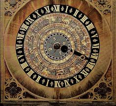 Astronomical clock in Hampton Court Palace, London.