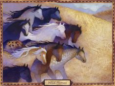 Wild Horses Poster - Kids Posters - Fast shipping in the USA. Horse Wall Art, Horse Posters, Kids Poster, Wild Horses, Moose Art, Illustration, Painting, Animals, Magic