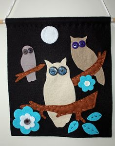 Craft and Other Activities for the Elderly: Gorgeous Owl Felt Wall Hanging - Easy Tutorial!
