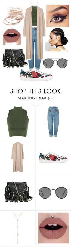 """""""Untitled #105"""" by mari3tta ❤ liked on Polyvore featuring WearAll, Miss Selfridge, MANGO, Gucci, GUESS by Marciano, Ray-Ban, Fragments and Red Camel"""