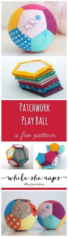 Tutorial: Patchwork Play Ball Made With English Paper Piecin .- Tutorial: Patchwork Play Ball Made With English Paper Piecing Make your own Patchwork toys for your baby :] - Handgemachtes Baby, Baby Kind, Baby Toys, Baby Play, Toddler Toys, Baby Girls, Baby Sewing Projects, Sewing Projects For Beginners, Sewing For Kids