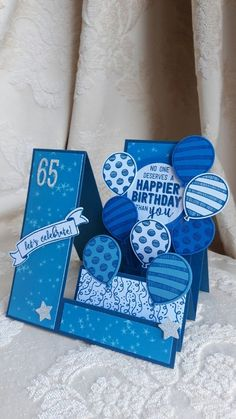 handmade birthday card ... monochromatic blue ... side step card format ... loads of balloons ... great card!