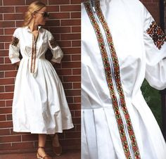 Embroidery On Clothes, Embroidered Clothes, Boho Fashion, Fashion Dresses, Womens Fashion, Mode Russe, Remake Clothes, Ukrainian Dress, 70s Outfits