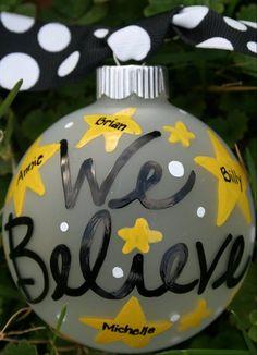 Hand Painted Christmas Ornament  We Believe by SassyPeasDesigns, $12.00