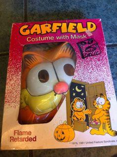 Vintage Halloween Garfield Costume And Mask Tiny Tot 3-4 Yrs