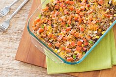 Hungry Girl's Healthy Cheesy Taco Casserole Recipe/5 smart points/6 servings/BEEF!