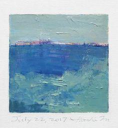 "July 22, 2017 9 cm x 9 cm (app. 4"" x 4"") oil on canvas © 2017 Hiroshi Matsumoto"
