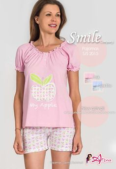 Pajamas!  For the most romantic and cuddly Pj, Smile Company proposes MyApple! Harmonious woman pajamas, knitted neck curled and puffed sleeves. Pj with shorts. As in fairy tales pink and light blue. #pajamas #fashion #summer http://www.underwearonlineatena.com/89-pajama-short-sets
