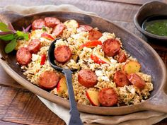 Chicken Apple Sausage with Brown Rice, Apples and Feta Cheese