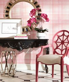Ethan Allen entryway. We love pink and black together. Note the fun Raspberry finish on our traditional Cristal spider back chair.