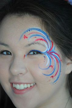 Fireworks - face paint idea / vuurwerk schmink oog design gepind door www. Face Painting Images, Face Painting Tutorials, Body Painting, Face Paintings, Simple Face Painting, Easy Face Painting Designs, Football Face Paint, Diy Face Paint, Too Faced