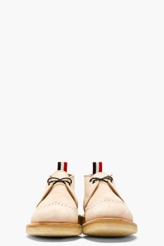 half off b63c5 967e6 THOM BROWNE Tan Leather Brogued Desert Boots Zapatillas, Juego, Mejores  Zapatos Para Hombres,