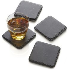 Crate & Barrel Set of 4 Slate Coasters found on Polyvore