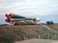 A Soyuz U rocket is rolled out to its Baikonur Cosmodrome launch pad in anticipation of an April 25, 2002 liftoff to the International Space Station.