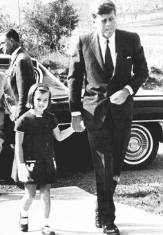 President with daughter Caroline attending church in Middleburg, Virginia, Oct. 27, 1963.
