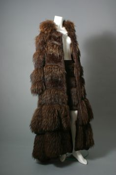 Sonya RYKIEL, Fabulous chestnut color marmot fur and knitted leather maxi coat, circa 2000