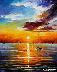 Resting with the sun Artwork by Leonid Afremov Hand-painted and Art Prints on canvas for sale,you can custom the size and frame