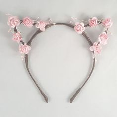 Pink flower crown, Floral crown, Cat ears, Bohemian, Anime, Cosplay, Cat ear headband, Cat ears headband, Anime cat ears, Festival